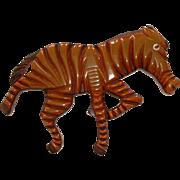Vintage BAKELITE on Wood Carved Zebra Pin Brooch