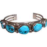Signed Vintage Native American Sterling Turquoise Stones Bangle Bracelet - Red Tag Sale Item