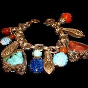 Vintage Signed NAPIER Asian Buddah Design Charm Bracelet