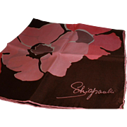 Vintage Schiaparelli Brown and Pink Flower Scarf