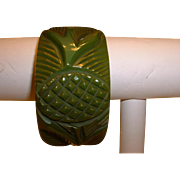 Vintage Wide Carved BAKELITE Thistle or Pineapple Bangle Bracelet