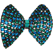 Vintage Signed Warner Blue and Green Pave Rhinestone Bow Pin Brooch
