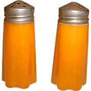 Vintage Pair Butterscotch BAKELITE Salt and Pepper Shakers