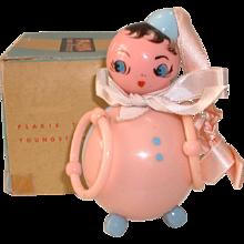 Vintage Adorable Celluloid PLAKIE Infant's Rattle Toy MIB