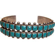 Vintage Sterling Silver Native American Turquoise Bangle Bracelet