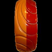 Vintage BAKELITE Red Butterscotch Laminated and Carved Bangle Bracelet