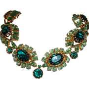 Amazing Vintage Unsigned High Couture Green Rhinestone Necklace