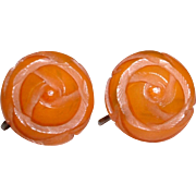 Vintage Carved BAKELITE Screw Back Earrings