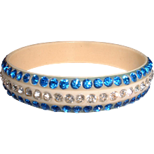 Vintage Celluloid and Rhinestone (Sparklie) Bangle Bracelet