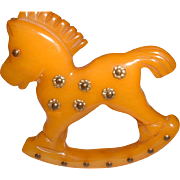 Adorable Vintage BAKELITE Rocking Horse Pin Brooch