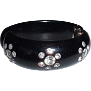 Unsigned Weiss Black Thermoplastic Lucite Hinged Bangle with Rhinestones