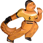 Vintage BAKELITE Realistic Figural Jai-Alai Sports Player Carved Painted Pin Brooch