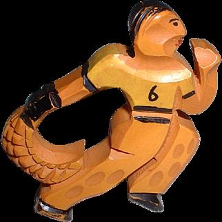Vintage BAKELITE Realistic Figural Jai-Alai Sports Player Carved Painted Pin Brooch