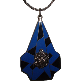 Vintage Art Deco STERLING SILVER Marked Heraldic Enamel Pendant Necklace and Chain