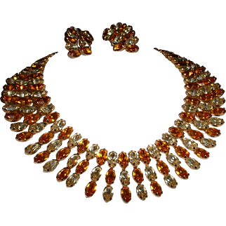 Vintage Signed KRAMER Citrine and Topaz Rhinestone Necklace and Earring Clip On Set