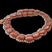 Vintage Signed AUSTRIAN SCHOFFEL Pink Rhinestone Necklace