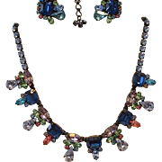 Vintage Unsigned HOBE Japanned Blue Pink Green Rhinestone Necklace and Earrings Set