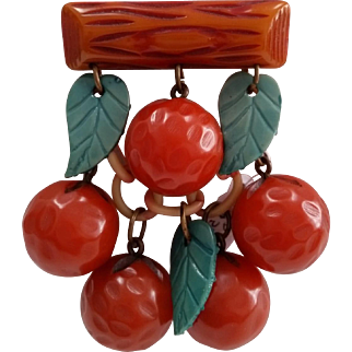 Vintage BAKELITE Figural Dangling Fruit Oranges Pin Brooch
