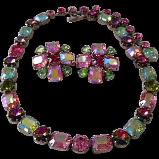Vintage SIGNED FENICHEL Rhinestone Necklace and Earrings Set