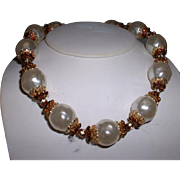 Vintage Signed VENDOME Large Faux Pearl and Rondelle Rhinestone Necklace
