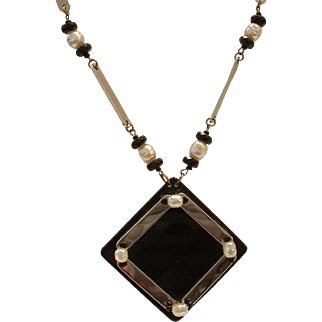 Vintage 1970's Signed MIRIAM HASKELL Bakelite, Faux Pearl and Chrome Necklace