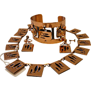 Vintage Copper Parure Necklace Earrings and Cuff Bracelet (Matisse Renoir/Rebajes)