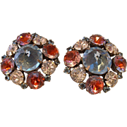 Vintage SCHREINER Rhinestone Clip on Earrings