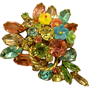 Vintage JULIANA Happy Spring Flowers Glass and Rhinestone Pin Brooch