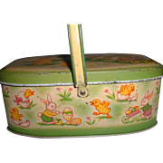 Vintage Easter Bunny Theme Lithographed Tin Box with Handle
