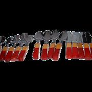 Vintage BAKELITE Red and Cream 15 Piece Flatware Set