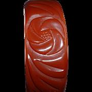 Vintage BAKELITE Purple-y Brown Carved Bangle Bracelet