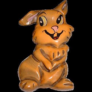 Walt Disney Vintage BAKELITE Thumper Rabbit Overdyed Pin