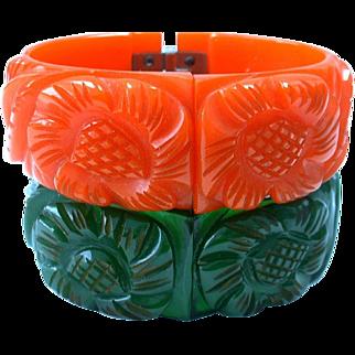 Vintage Carved Bakelite Clamper Hinged Bangle Bracelets Set of Two