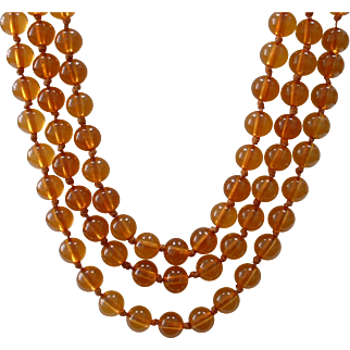 Most Beautiful Vintage Apple Juice Hand Knotted Long BAKELITE Beaded Necklace