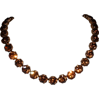 Vintage Signed AUSTRIAN Topaz Rhinestone Necklace