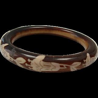 Vintage French CELLULOID  Flowered Design Bangle Bracelet