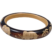 Vintage French Celluloid Bangle Bracelet with Elephants