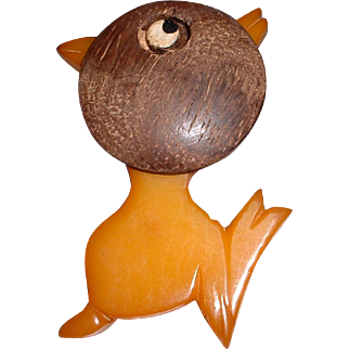 Vintage BAKELITE Chick with Oversized Large Wood Painted Head Pin Brooch