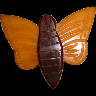 Vintage BAKELITE Figural Cream Corn Butterfly Wood Center Pin Brooch