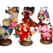 Vintage CUTEST Chenille Pipe Cleaner Mother and Baby Animal Figures Set 6