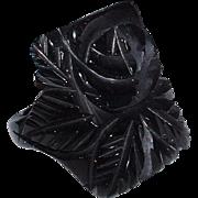 Vintage Black Floral Carved BAKELITE Ring