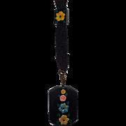 Vintage Black Celluloid with Flowers on Black Grosgrain Chain Pendant Necklace
