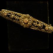 Vintage Sterling MARCASITE Amethyst Bar Pin