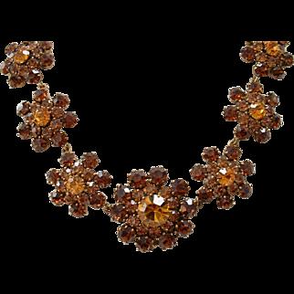Vintage Signed AUSTRIA Topaz Rhinestone Necklace