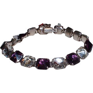 Vintage Sterling Silver Amethyst Colored and Clear Glass Link Bracelet