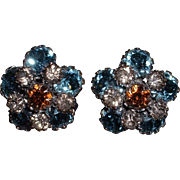 Vintage Signed SCHREINER Rhinestone Clip Earrings