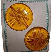 Vintage Huge Reverse Carved Apple Juice BAKELITE Buttons MOC