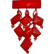 Vintage Fab Huge Red Bakelite Dangle Pin Brooch