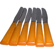 Butterscotch Bakelite Flatware - 6 Serrated Knives