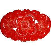 Vintage Iconic Oval Rose BAKELITE  Pin Brooch